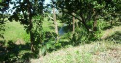 Small farm land with river and construction